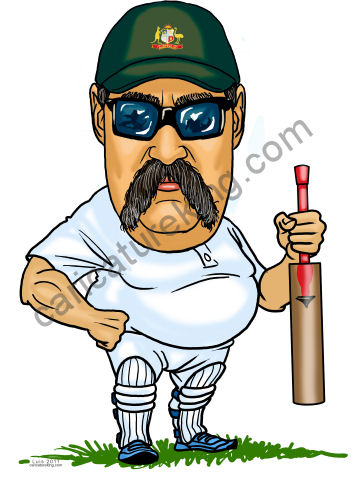 cricket player caricature