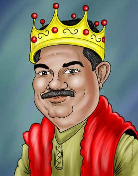 man as king caricature