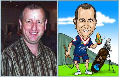 caricature of a man who enjoys sports