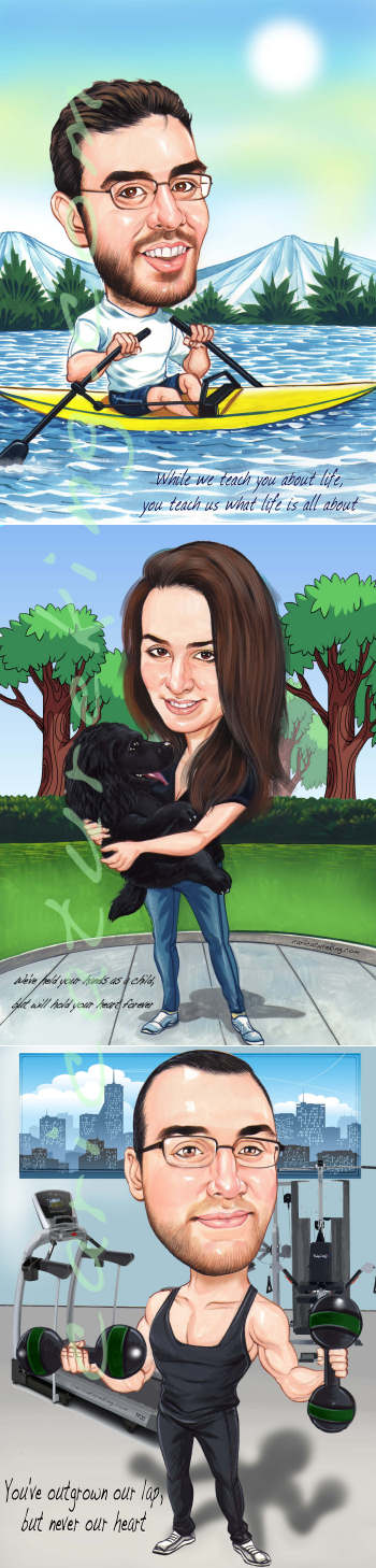 mothers love caricature art bespoke art