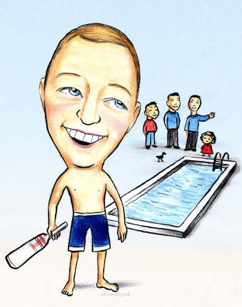 swimmer caricature