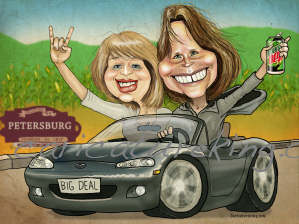 two women in a car caricature