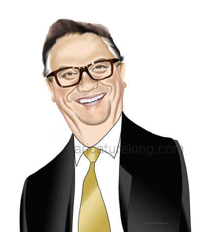 head and shoulders caricature of a smiling man with glasses