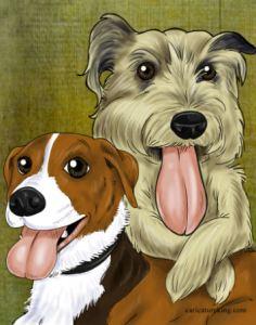 2 dogs caricature