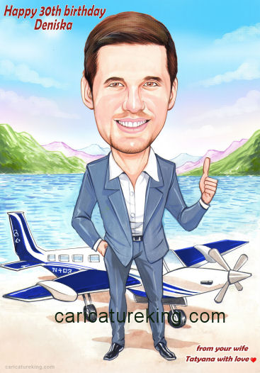 birthday caricature pilot