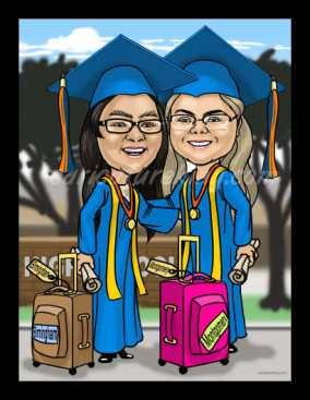 graduation girls gaift art from caricatureking.com