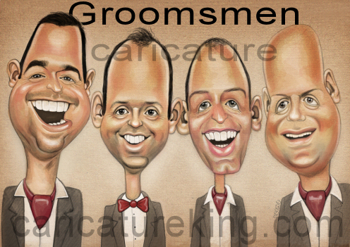 caricature of groomsen for gift