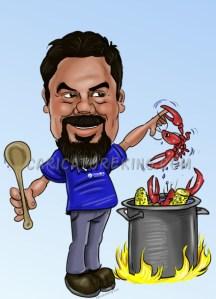 man cooking crabs artwork
