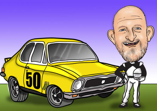 racing car caricature