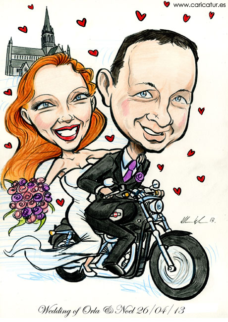 wedding signing board on a harley davidson! – caricatures ireland