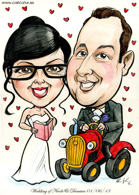 Caricature of newlyweds in Donegal, bride reading a book, groom on a toy tractor, by Allan Cavanagh, Caricatures Ireland