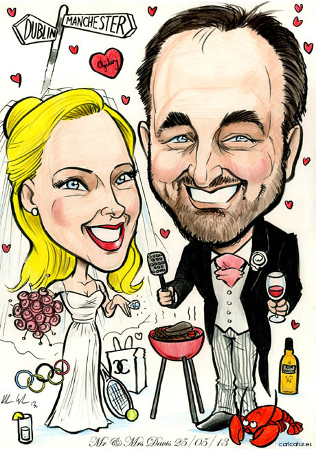 Caricature of a couple in wedding attire surrounded by their interests, Olympics, barbecue, rum, wine, lobsters, Chanel