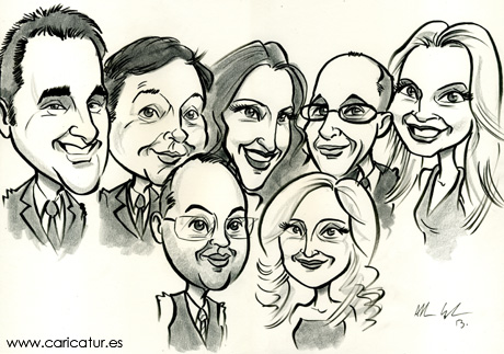 Office group caricature by Allan Cavanagh of Caricatures Ireland