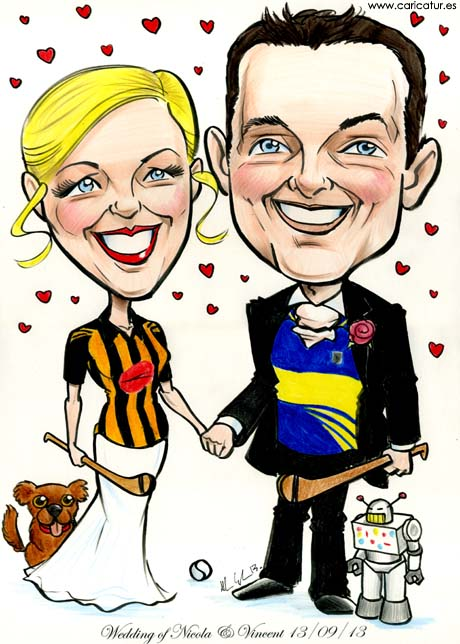 GAA Themed Weddings caricature featuring hurling, dog and robot
