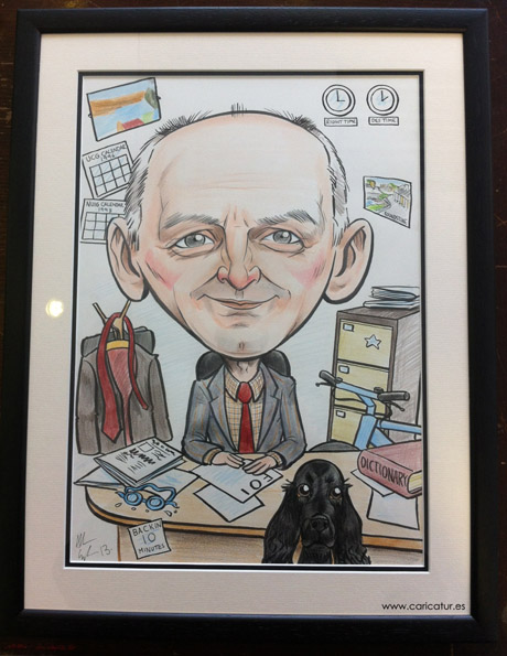 Framed caricature for retirement by Allan Cavanagh Caricatures Ireland