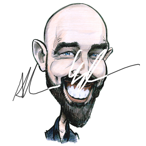 Self portrait cartoon by Allan Cavanagh