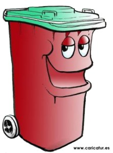 Cartoon of a red dustbin trashcan with green lid and a smiling face