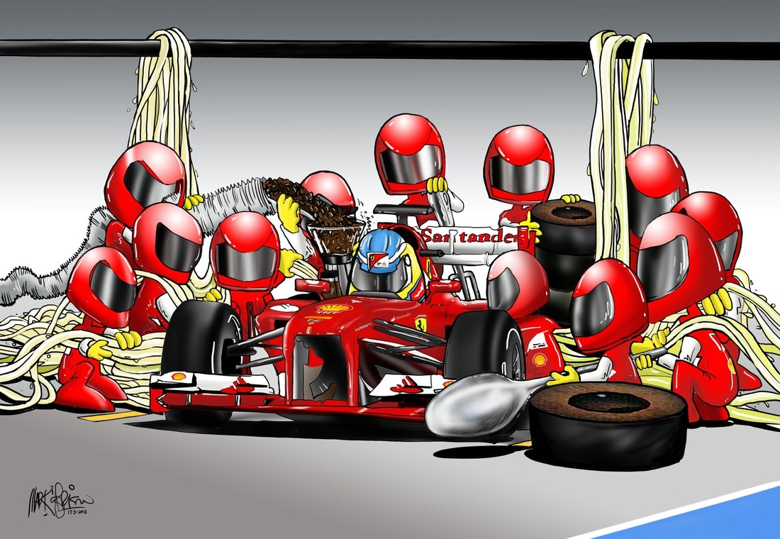 Ferrari Cartoons And Caricatures By Mark OBrien