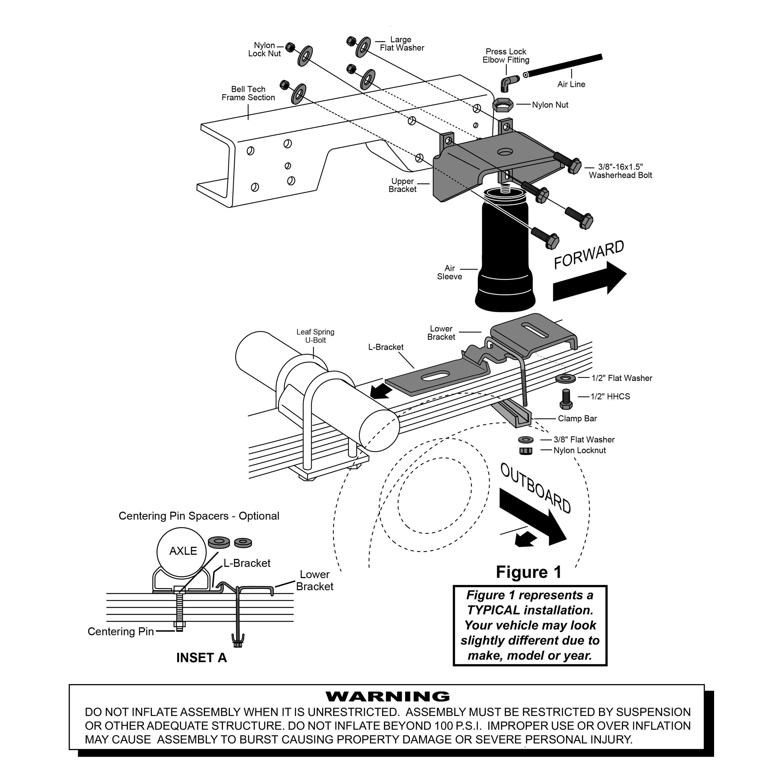 For Chevy C 88 98 Air Lift 5 6 Slamair Rear Air