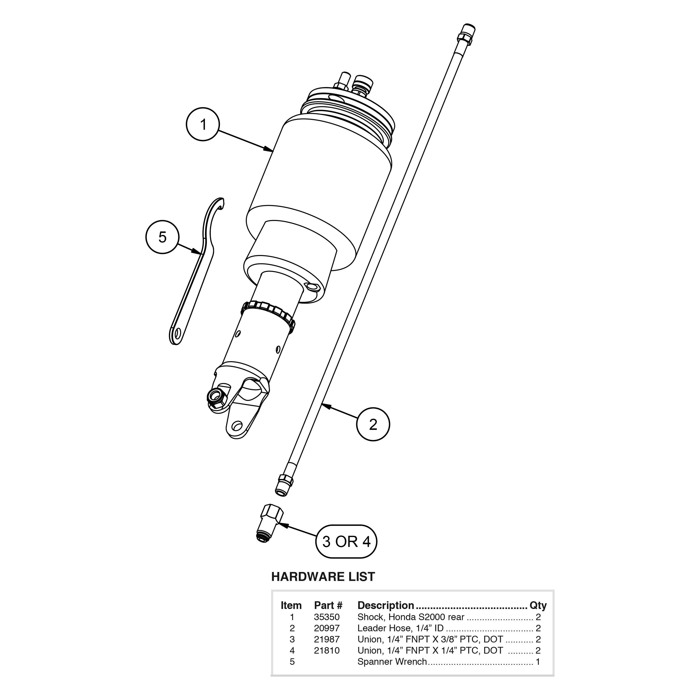 For Honda S 00 09 Air Lift 4 7 Rear Performance Air