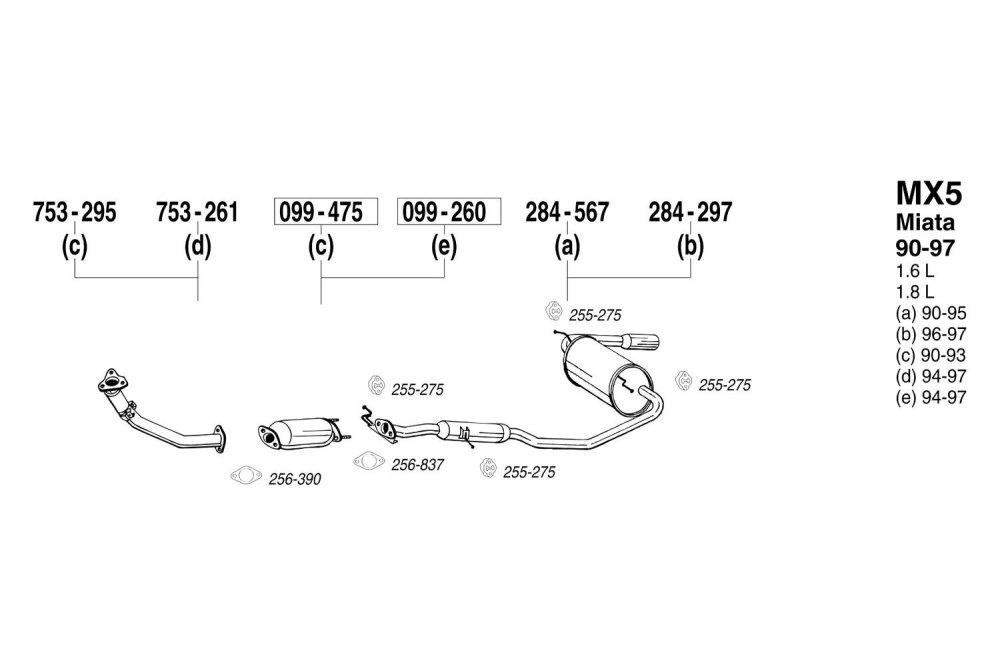 medium resolution of bosal mazda miata 1990 replacement exhaust kit 1990 miata exhaust diagram miata exhaust diagram