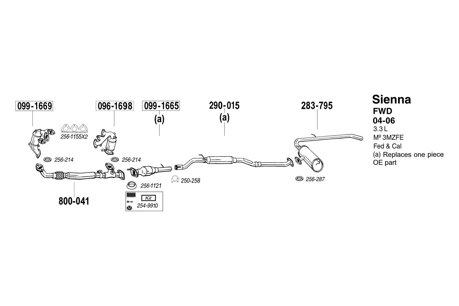 hight resolution of bosal toyota sienna 2004 replacement exhaust kit 2004 sienna exhaust diagram