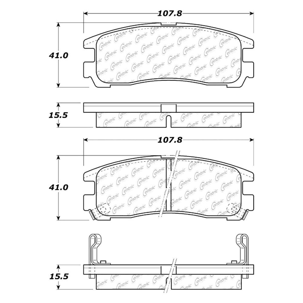medium resolution of centric premium semi metallic rear disc brake padscentric