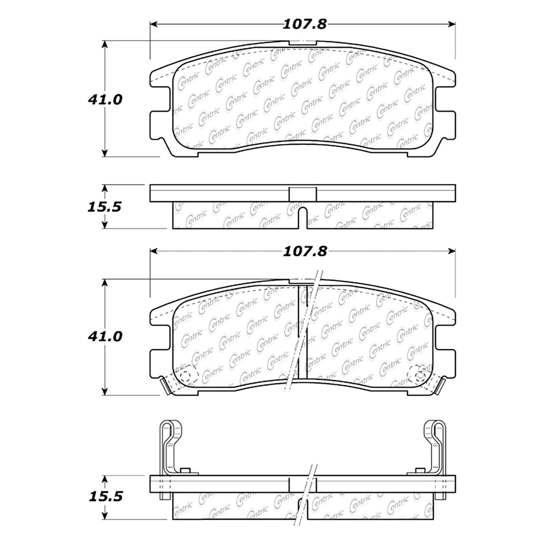 hight resolution of centric premium semi metallic rear disc brake padscentric