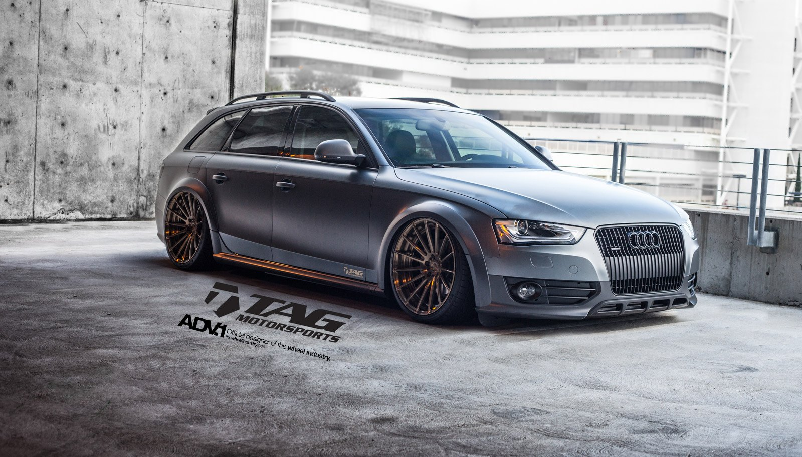 Bold Matte Gray Audi A4 Allroad Rolling On Air Suspension