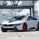 White Pearl Futuristic Bmw I8 On Red Forged Custom Wheels Carid Com Gallery