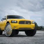 Yellow Dodge Charger Rt On Extremely Big Color Matched Dubs Carid Com Gallery