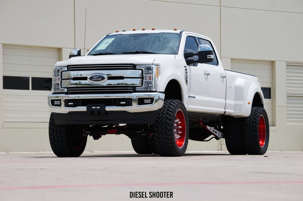 medium resolution of white custom ford f 350 with painted american force wheels photo by diesel shooter