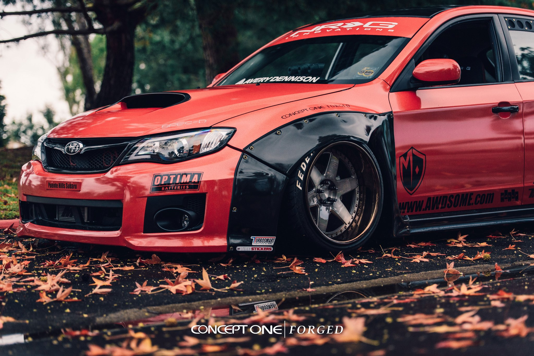 Stanced Car Wallpaper Hd Heavily Modified Custom Red Subaru Wrx On Forged Rims