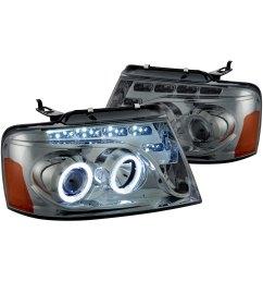 lumen black smoke halo projector headlights with parking leds [ 1500 x 1500 Pixel ]