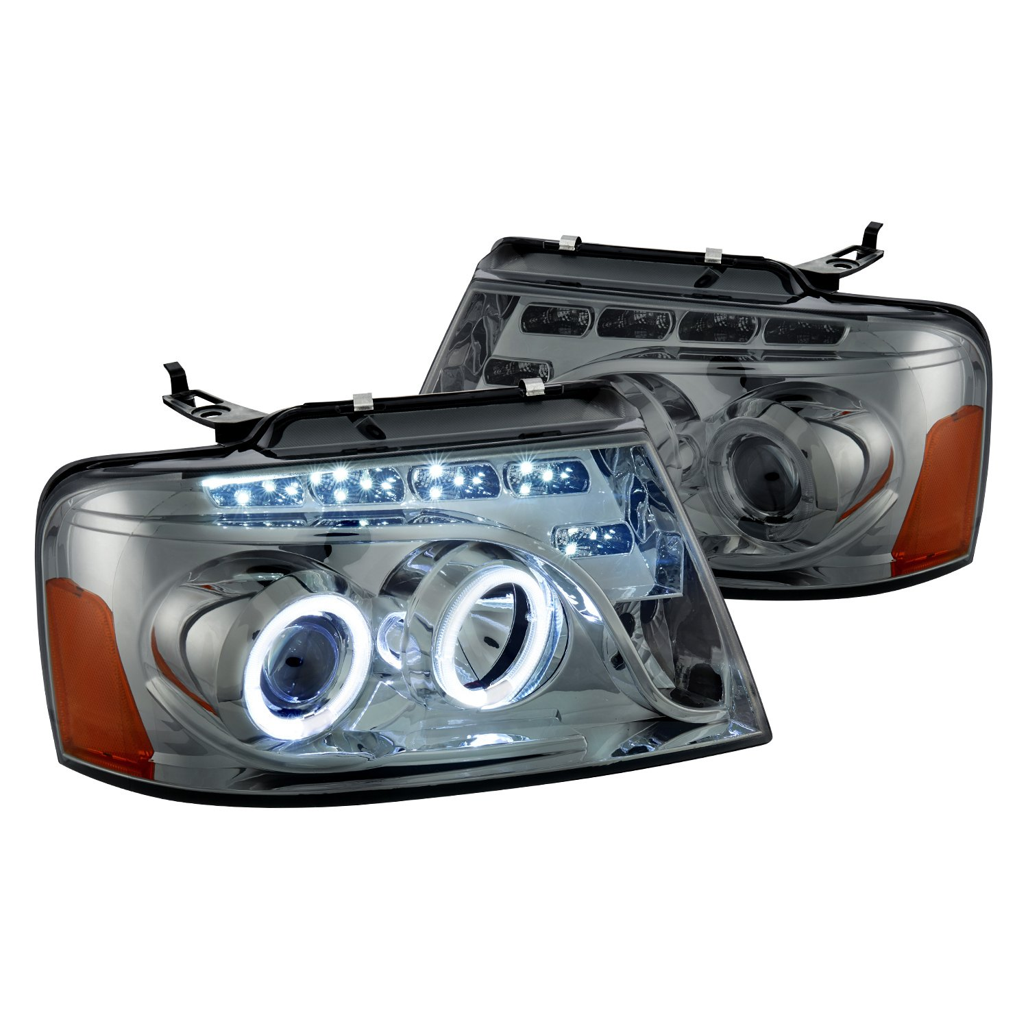 hight resolution of lumen black smoke halo projector headlights with parking leds