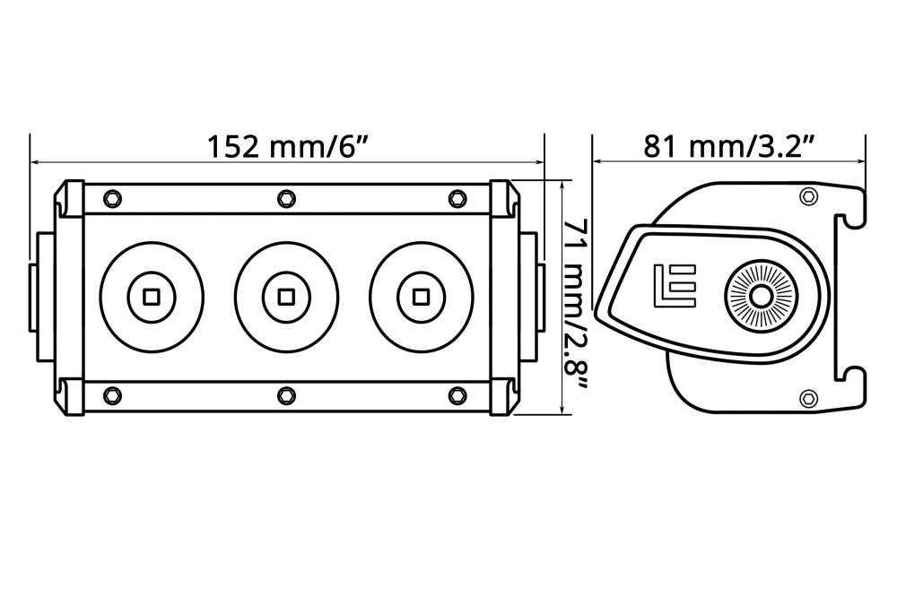 medium resolution of  6 30w single row spot beam led light bar with illuminated end caps