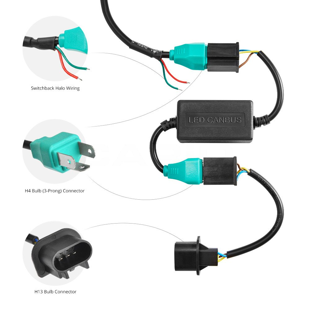 medium resolution of lumen u00ae jeep wrangler 2007 2014 7 quot round black led 2003 f250 halo headlight wiring diagram 2003 f250 halo headlight wiring diagram