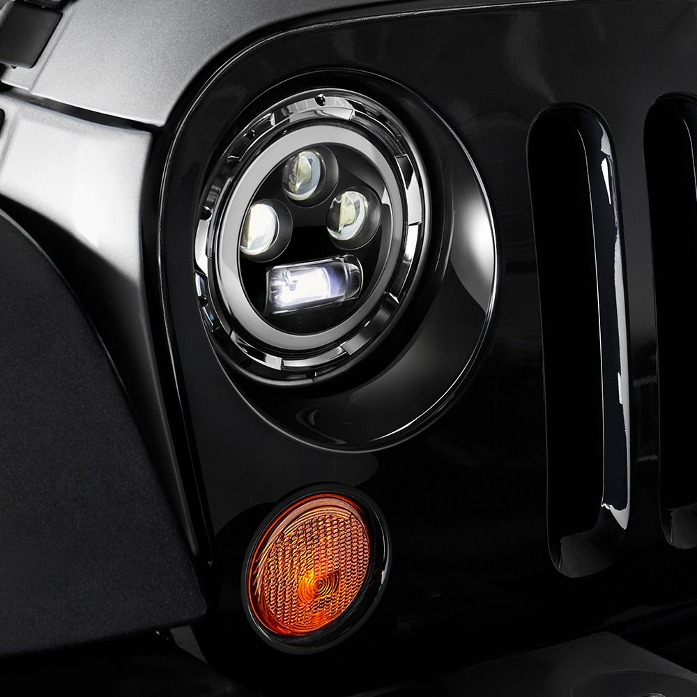 medium resolution of  halo installed on a jeep wrangler high beam light onlumen 7 round chrome projector led headlights with switchback halo wiring connectorlumen
