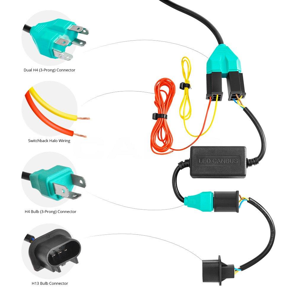 medium resolution of lumen 7 round black projector led headlights with switchback halo