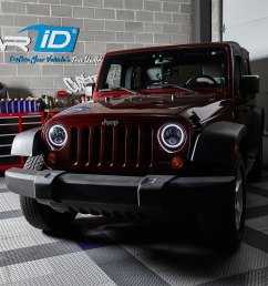 7 round black projector led headlights with switchback halo installed on a jeep wrangler halo ring  [ 1000 x 1000 Pixel ]