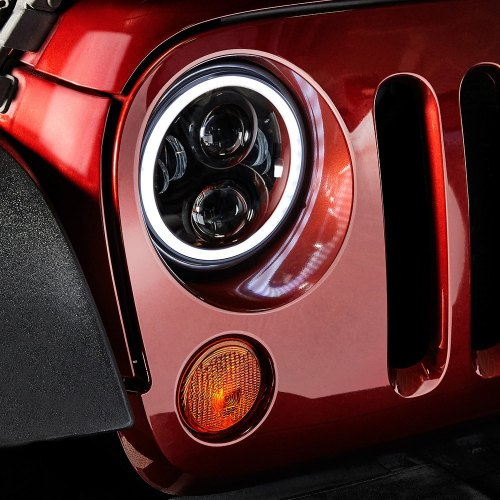small resolution of  7 round black projector led headlights with switchback halo installed on a jeep wrangler halo ring