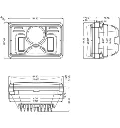 4x6 rectangular black projector led headlights with drl scheme [ 1000 x 1000 Pixel ]