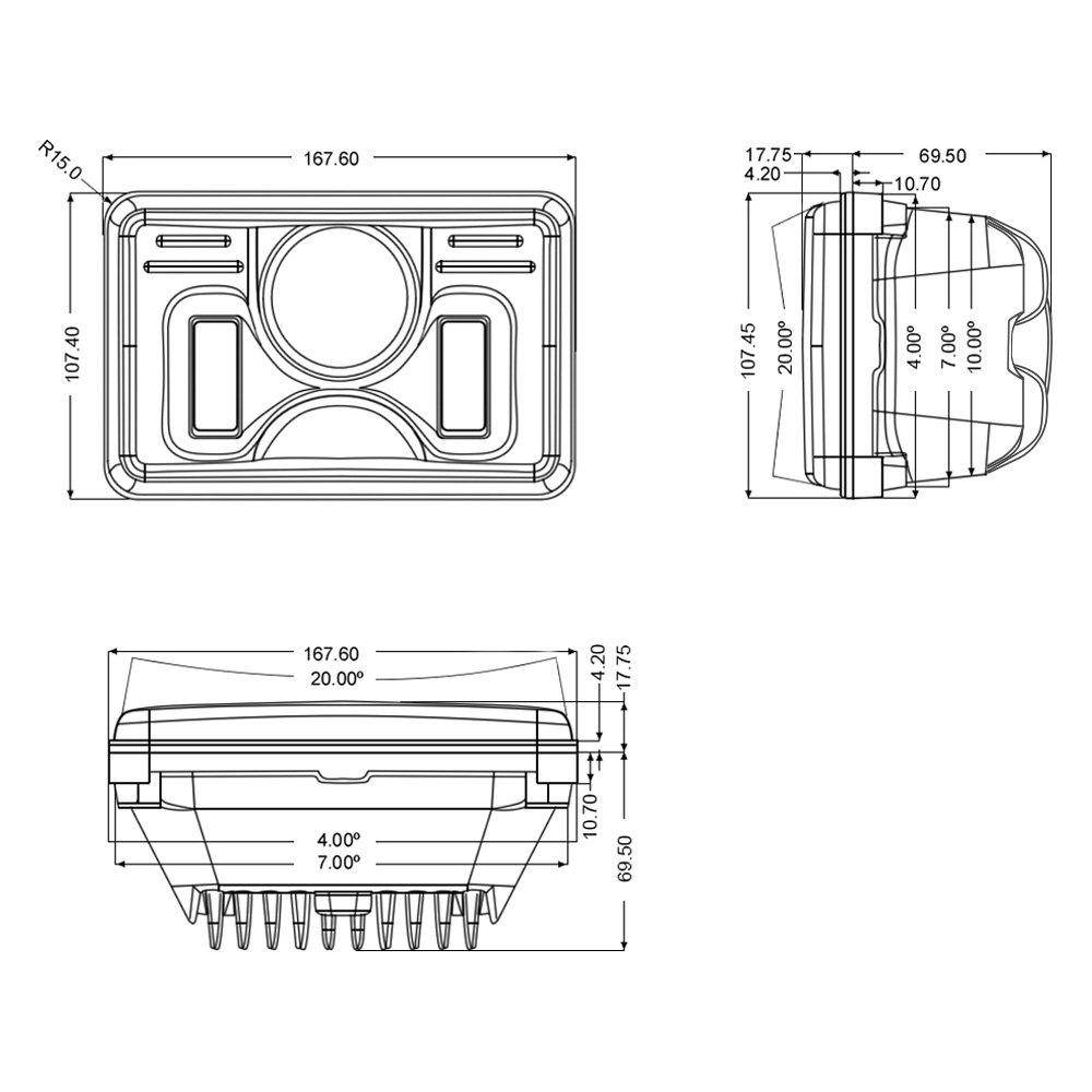 medium resolution of  4x6 rectangular black projector led headlights with drl scheme