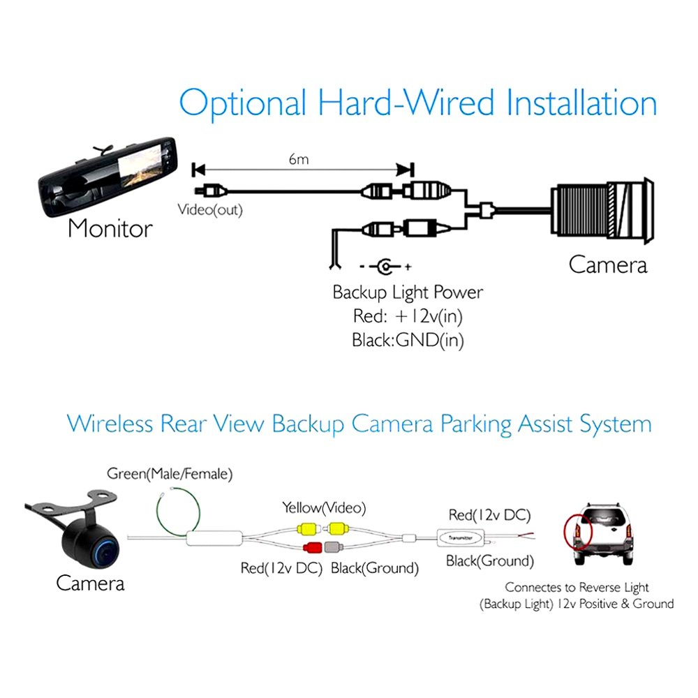 medium resolution of  wireless rear view mirror with built in 4 3 touchscreen monitor and surface mount rear view camera