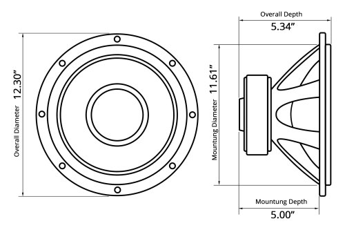 small resolution of  12 red label series 800w 4 ohm svc subwoofer