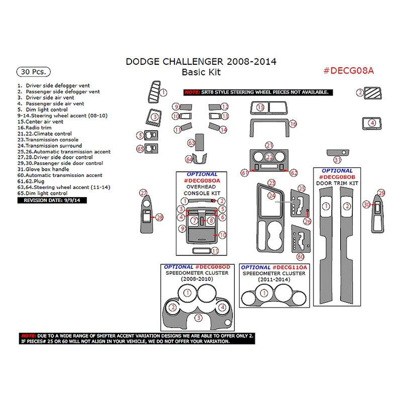 For Dodge Challenger 2008-2014 Remin DECG08A-SRED Red