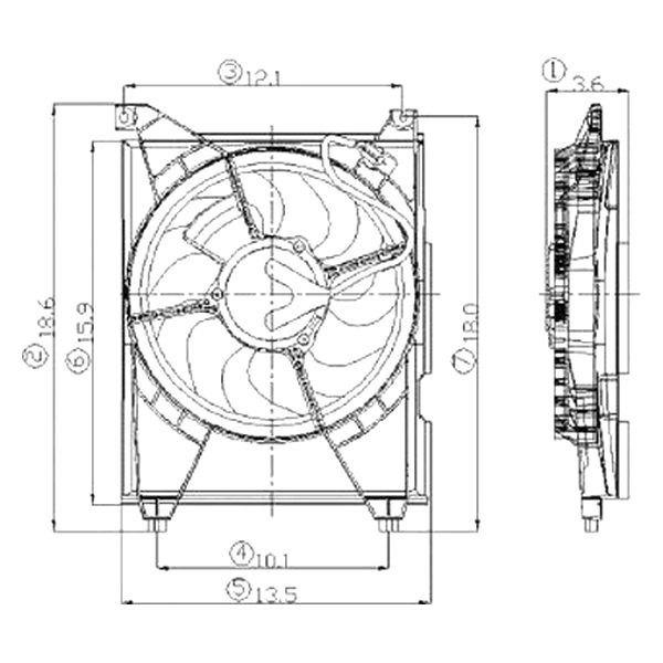 For Kia Optima 2001-2006 Replace A/C Condenser Fan