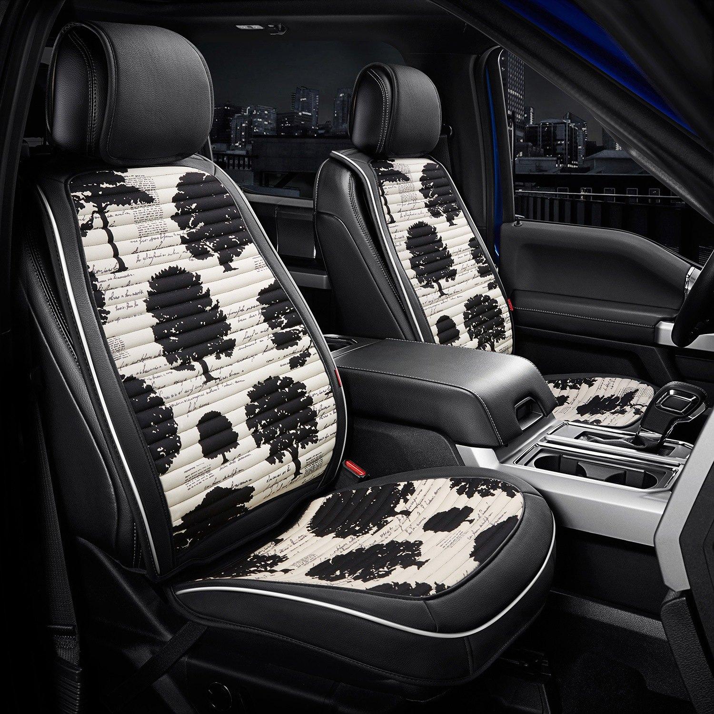 Rixxu SCBL004TRE1ST  Designer Series 1st Row Black Seat Covers with Tree Pattern