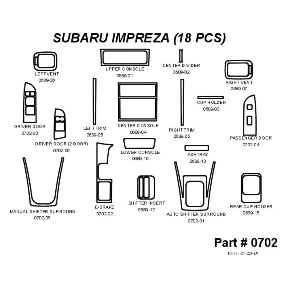 For Subaru Impreza 98-00 Sherwood 2D Honey Burl Wood
