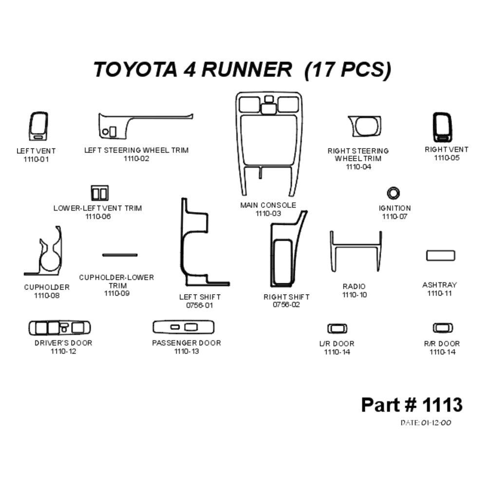 For Toyota 4Runner 99-02 2D Real Black Carbon Fiber